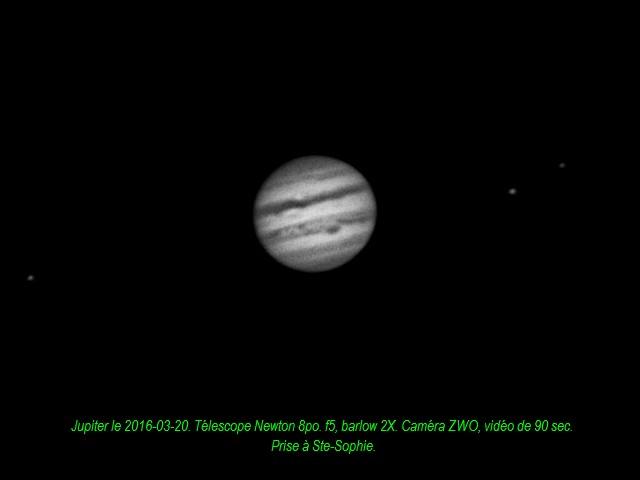 Jupiter et trois lunes le 2016-03-20,tex